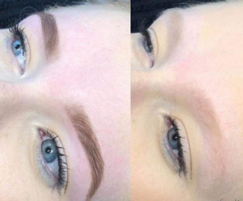 before and after henna brows