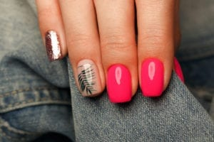 manicured nails short square with fern nail art and glitter