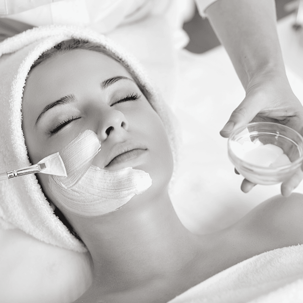 black and white facial with mask application