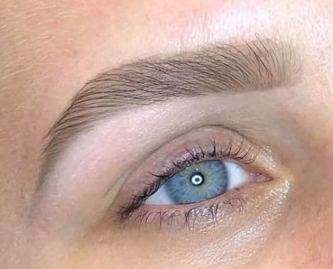 blue eyed woman with fresh brows